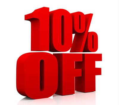 10 per cent off